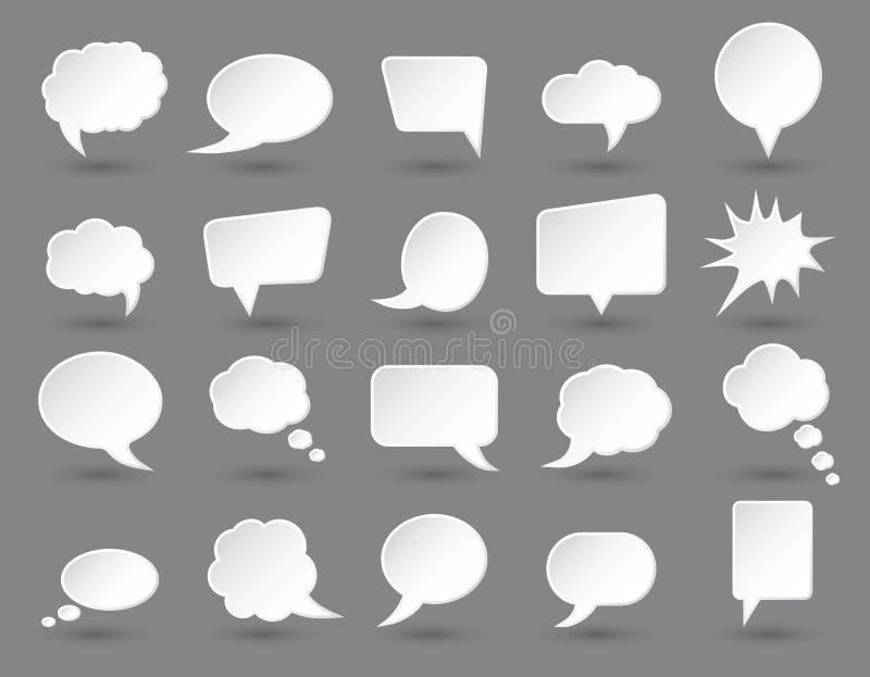Белые пузыри речи установили с тенями на темноте - серой предпосылке иллюстрация вектора