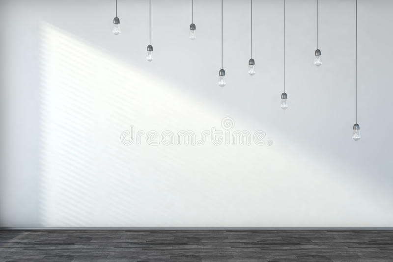 Белые пустые интерьер и шарики бесплатная иллюстрация