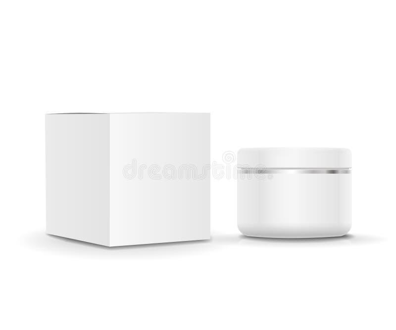 Белые пустые косметические Cream трубка и картон иллюстрация вектора