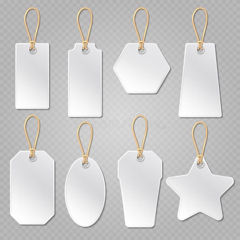 Белые пустые ценники, шаблон вектора ярлыков иллюстрация штока