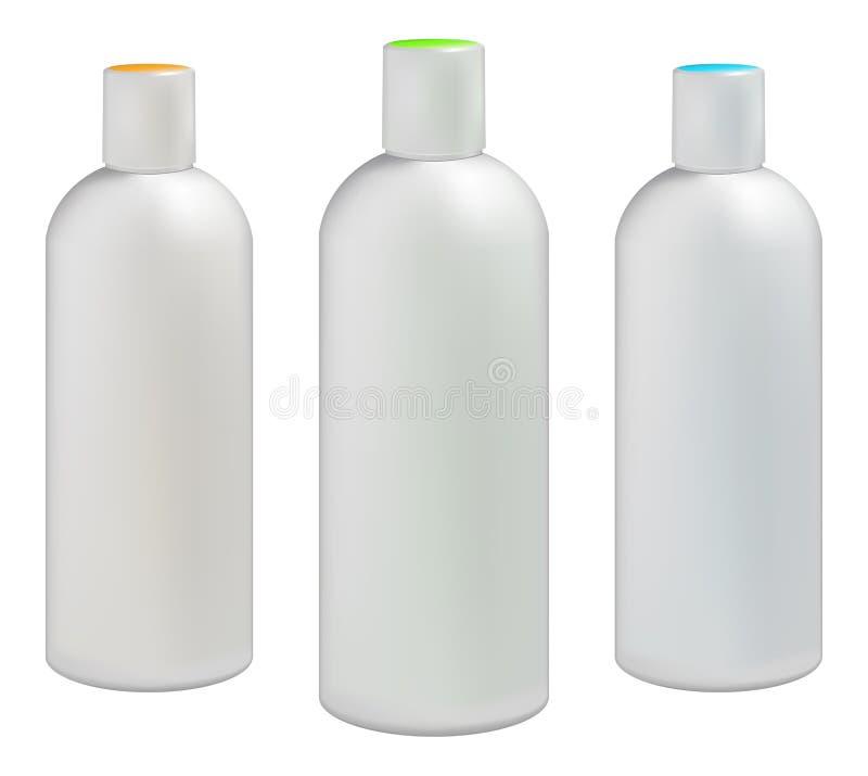 Пластичные бутылки для косметик иллюстрация вектора