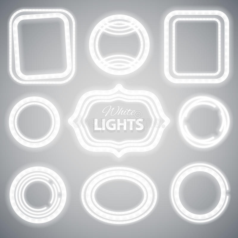 Белые рамки неоновых свет иллюстрация вектора