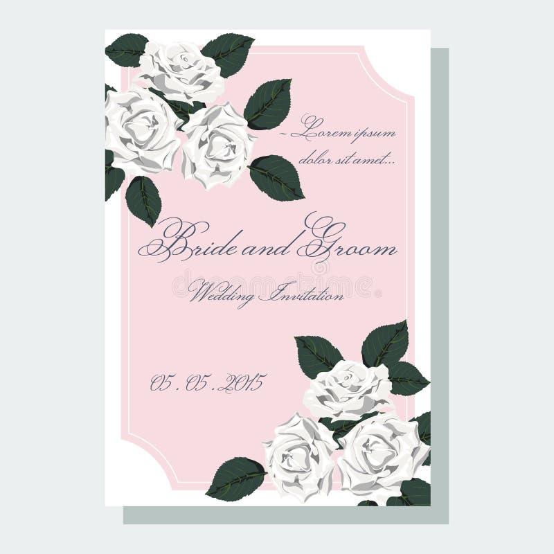 Белые розы wedding приглашение иллюстрация вектора