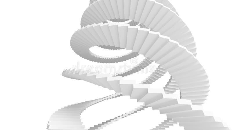 Белые спиральные лестницы изолированные на белизне иллюстрация вектора