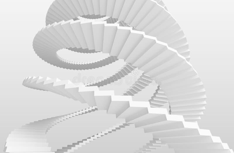 Белые спиральные лестницы на серой предпосылке бесплатная иллюстрация