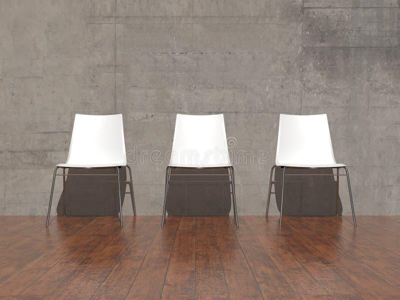 Download Белые стулья в пустой комнате Иллюстрация штока - иллюстрации насчитывающей студия, уговариваний: 41657640