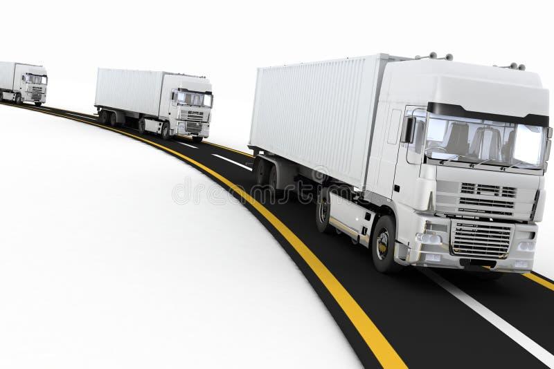 Белые тележки на скоростном шоссе иллюстрация штока