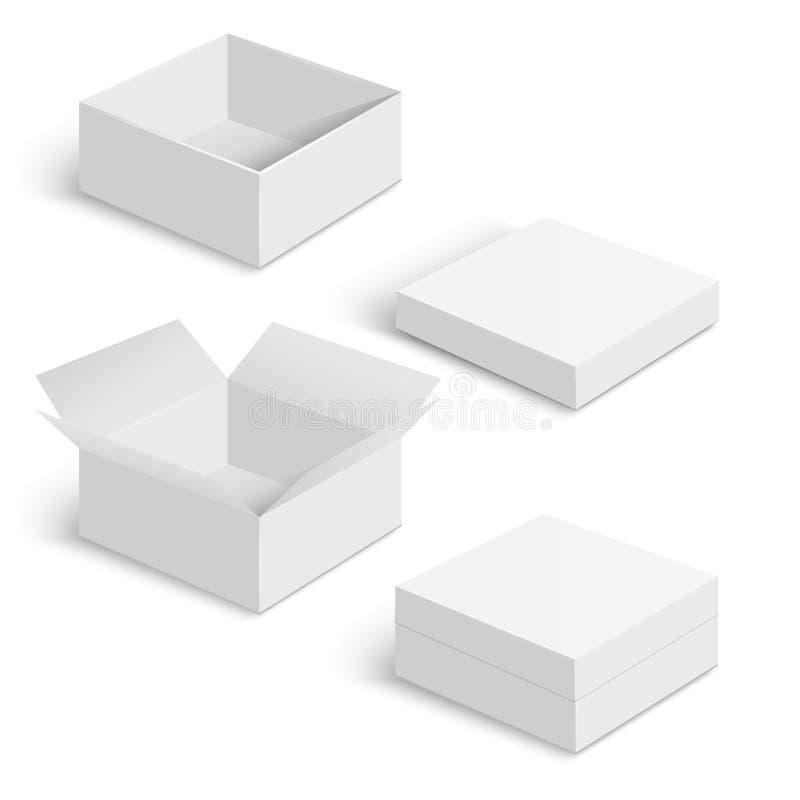 Белые установленные шаблоны вектора квадратной коробки бесплатная иллюстрация