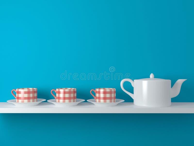 Белые чайник и чашки иллюстрация штока