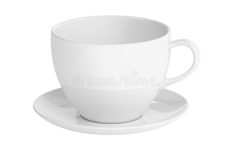 Белые чашка и поддонник, перевод 3D иллюстрация штока