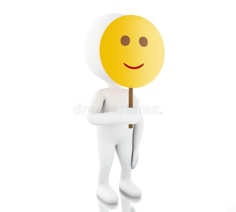 белые человеки 3d держа лицевой щиток гермошлема smiley бесплатная иллюстрация