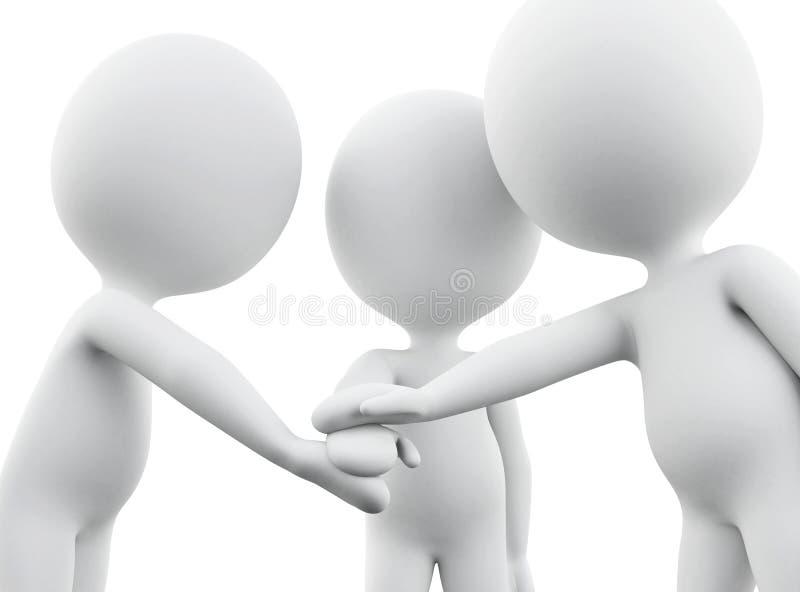белые человеки 3d соединяя руки иллюстрация вектора