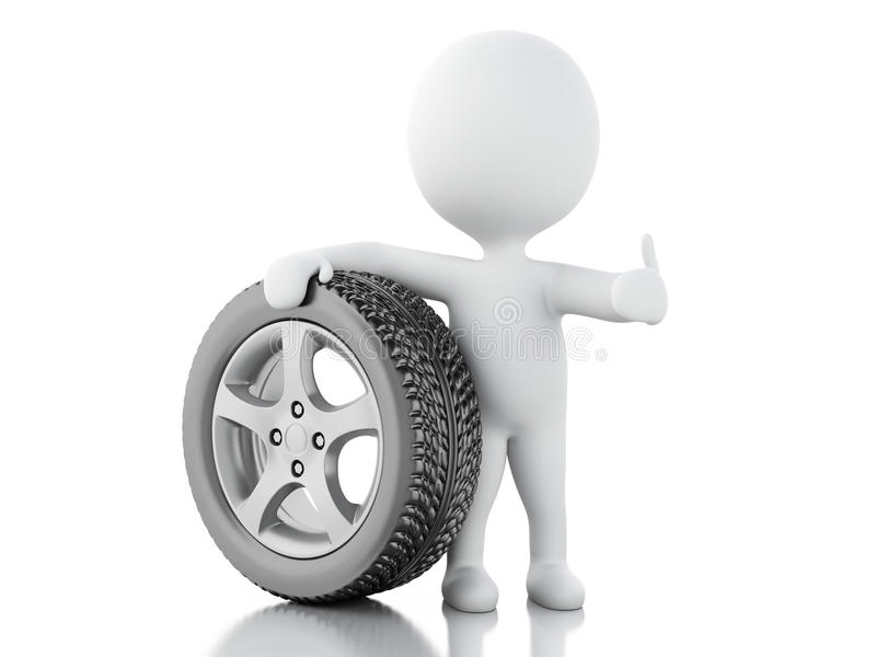 белые человеки 3d с автомобилем колеса бесплатная иллюстрация