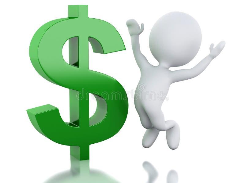 белые человеки 3d с знаком доллара Бизнесмен иллюстрация штока