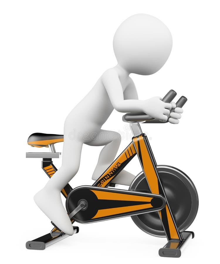 белые человеки 3D. Человек делая закручивать на велосипед иллюстрация вектора