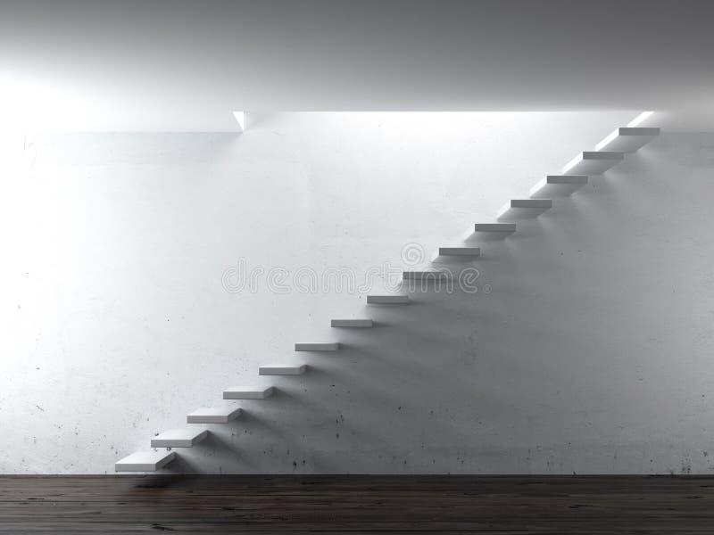 Белые шаги лестницы около стены бесплатная иллюстрация
