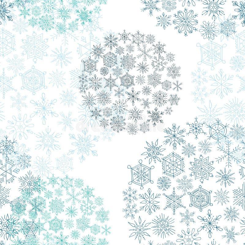 Белые шарики рождества предпосылки от снежинок иллюстрация штока