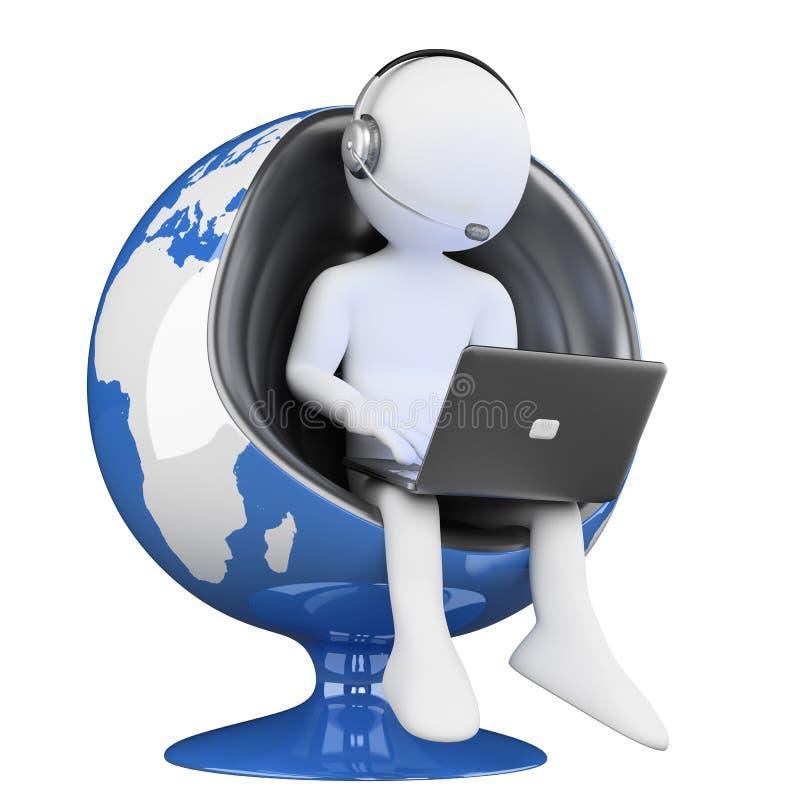 белые люди 3D. глобализация центра телефонного обслуживания иллюстрация вектора