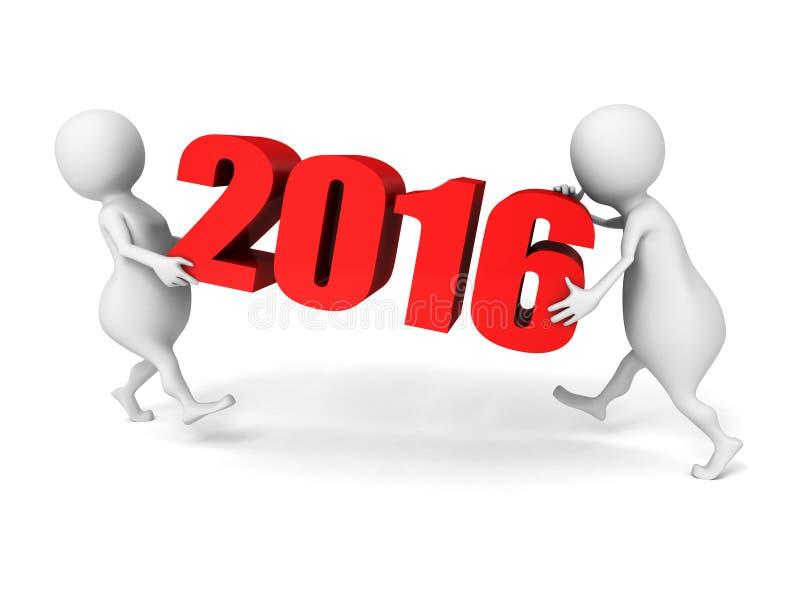 Белые люди 3d носят номера 2016 Новых Годов иллюстрация штока