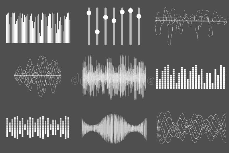 Белые ядровые волны музыки Тональнозвуковая технология, визуальный музыкальный ИМП ульс также вектор иллюстрации притяжки corel иллюстрация вектора