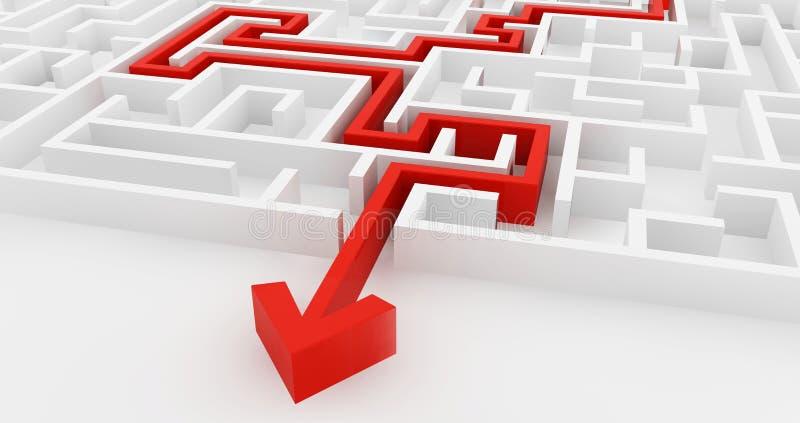 Белый лабиринт и красное решение выравниваются, сложный путь найти выход иллюстрация штока