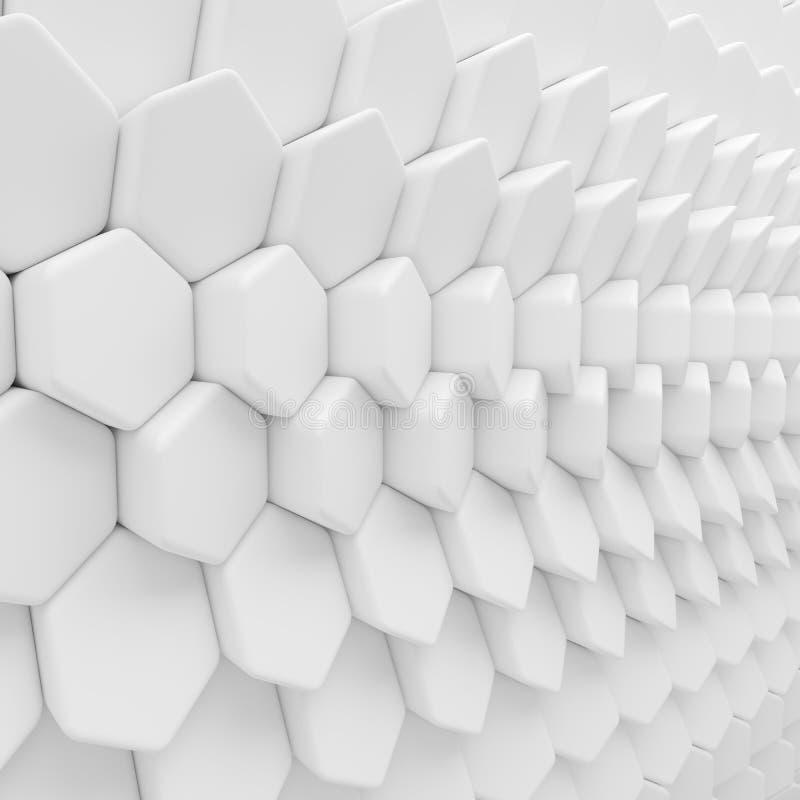 Белый абстрактный фон шестиугольников 3d представляя геометрические полигоны иллюстрация вектора