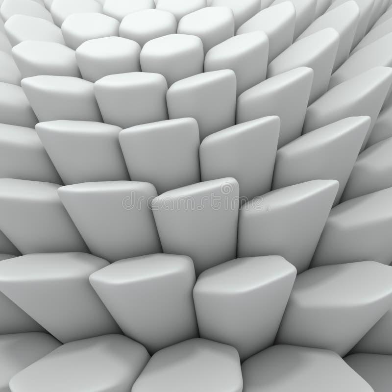 Белый абстрактный фон шестиугольников 3d представляя геометрические полигоны иллюстрация штока