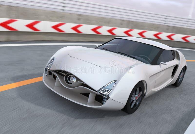 Белый автомобиль спорт на шоссе бесплатная иллюстрация