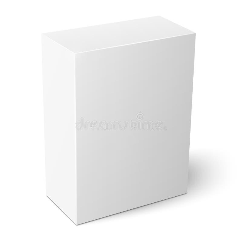 Белый вертикальный шаблон бумажной коробки иллюстрация вектора