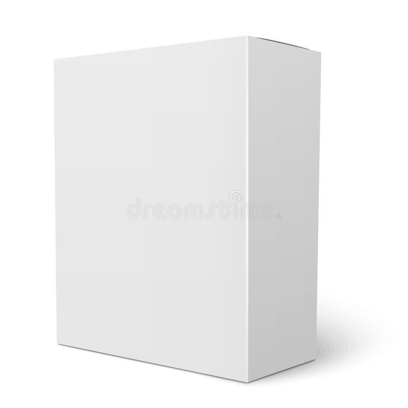 Белый вертикальный шаблон картонной коробки иллюстрация вектора