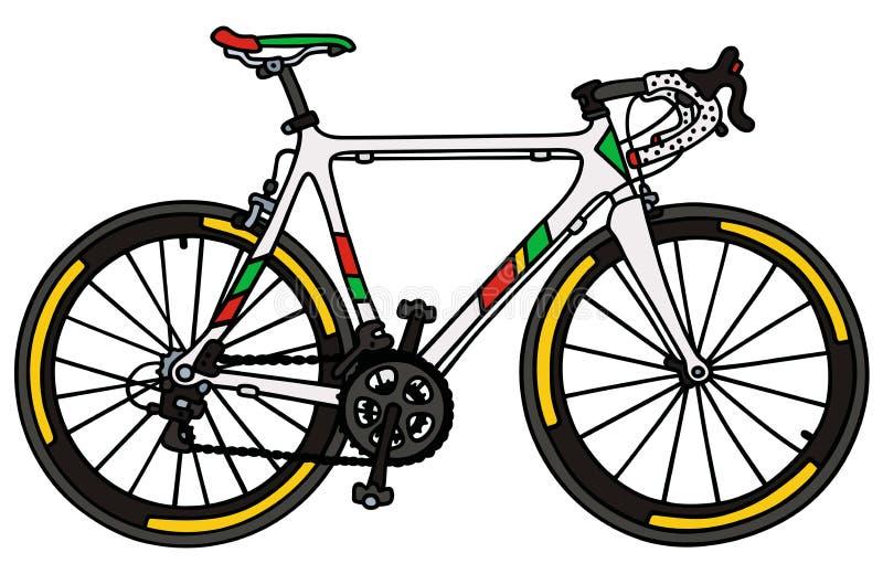 Белый велосипед гонок дороги иллюстрация вектора
