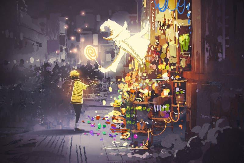 Белый волшебник давая волшебный леденец на палочке к мальчику, магазину конфеты фантазии иллюстрация штока