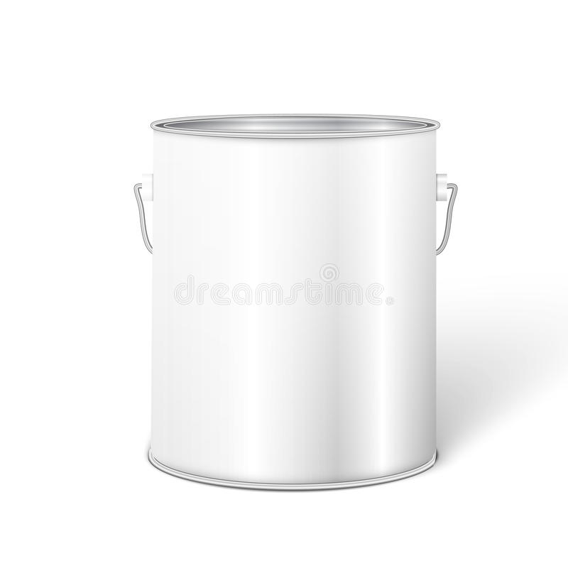 Белый высокорослый контейнер ведра краски ушата иллюстрация штока