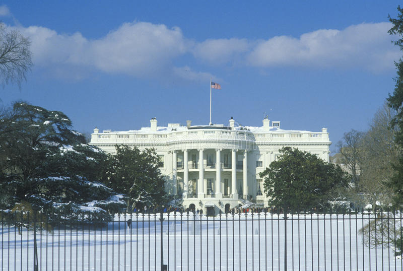 Белый Дом в зиме, Вашингтон, d C стоковое изображение