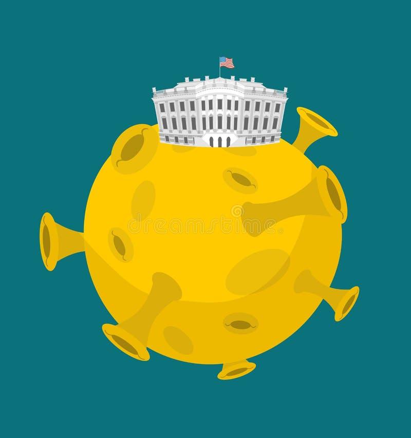 Белый Дом в луне Президент Резиденция США в космосе Американский n иллюстрация вектора