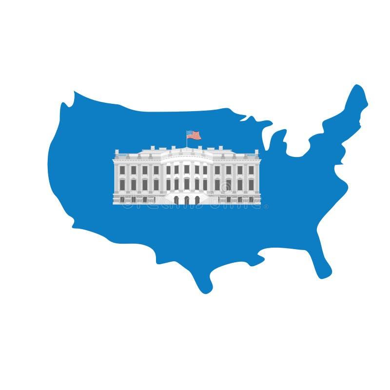 Белый Дом на карте Америки Резиденция президента США США идут иллюстрация вектора