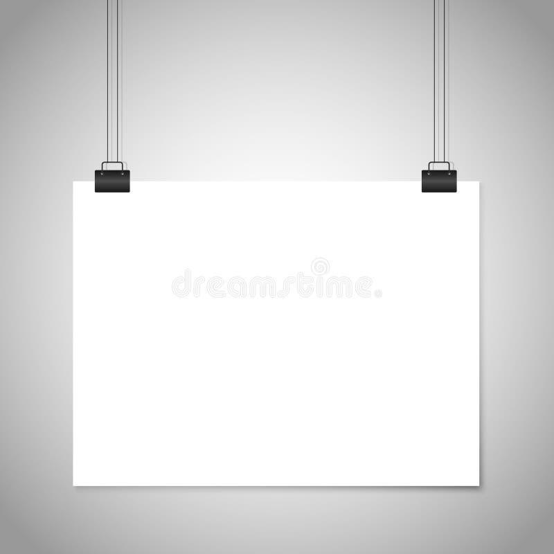 Белый знак смертной казни через повешение чистого листа бумаги Модель-макет вектора иллюстрация штока