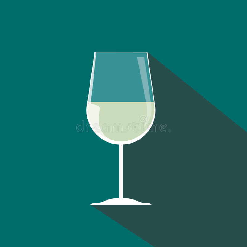 Белый значок бокала в винтажном стиле длиной стоковая фотография rf