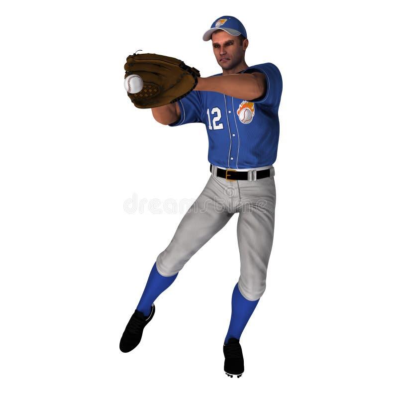 Белый игрок в дальней части поля бейсбола стоковые фотографии rf