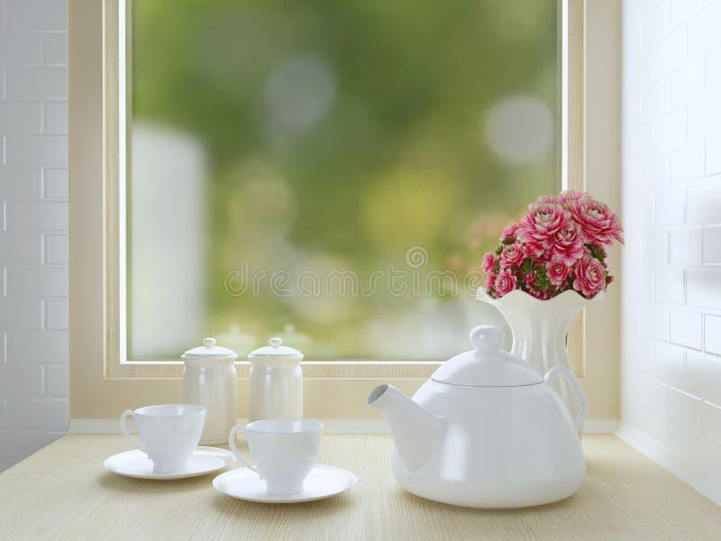 Белый дизайн кухни стоковая фотография