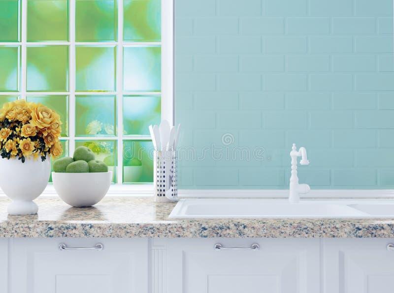 Белый дизайн кухни стоковое изображение
