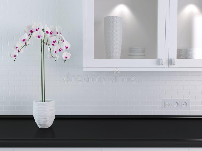 Белый дизайн кухни стоковые изображения rf