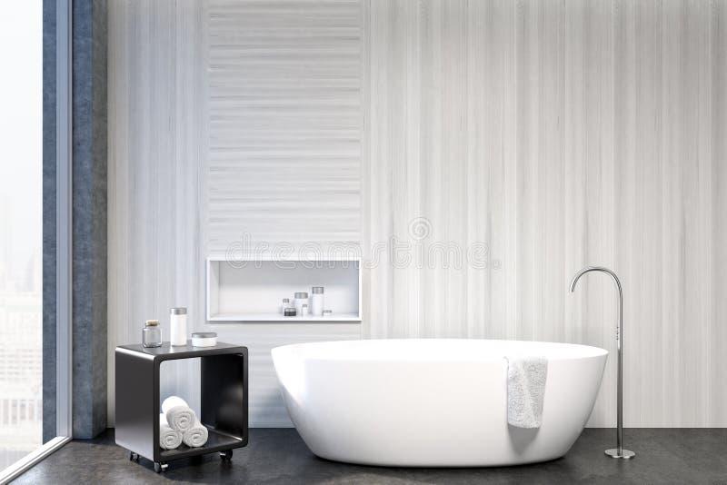 Белый интерьер ванной комнаты, крупный план ниши бесплатная иллюстрация