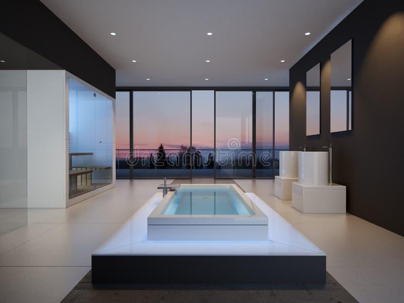 Белый интерьер ванной комнаты с бетонными стенами и стоковая фотография rf