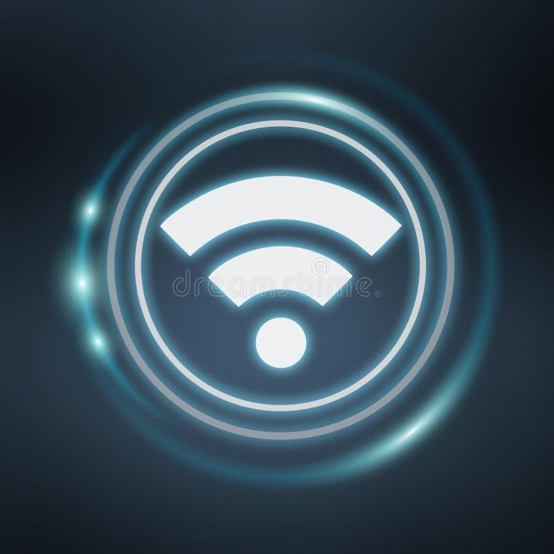 Белый и накаляя голубой перевод значка 3D wifi бесплатная иллюстрация