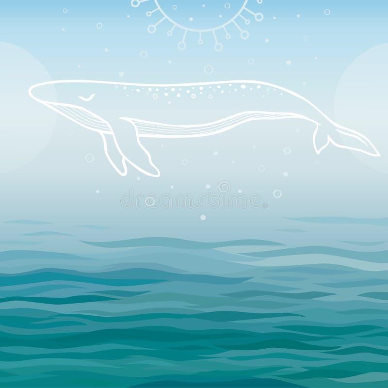 Белый кит на открытом море иллюстрация вектора
