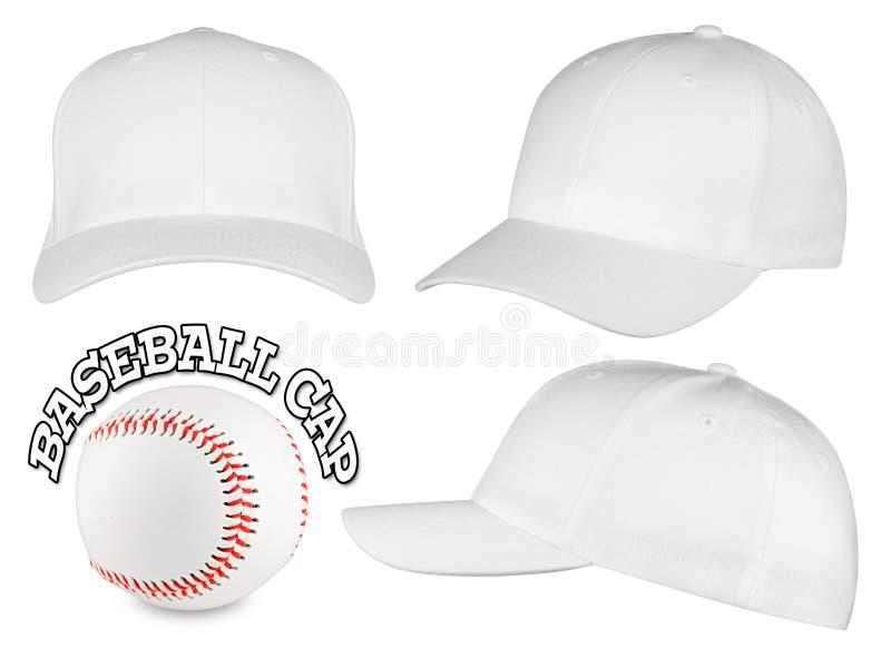 Белый комплект бейсбольной кепки стоковые изображения