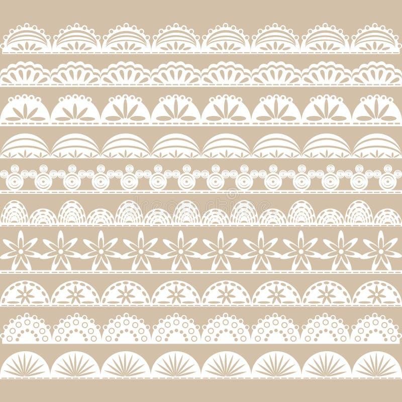Белый комплект границы шнурка бесплатная иллюстрация