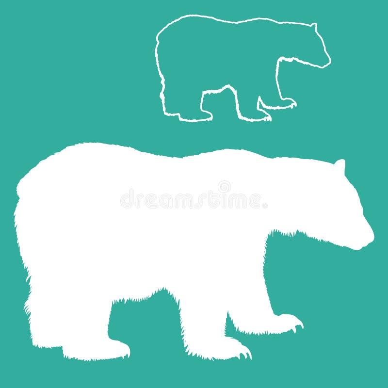 Белый комплект силуэта полярного медведя бесплатная иллюстрация