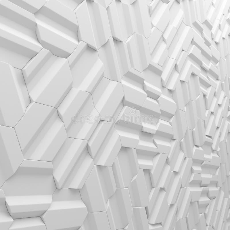 Белый конспект придает квадратную форму фону 3d представляя геометрические полигоны иллюстрация вектора